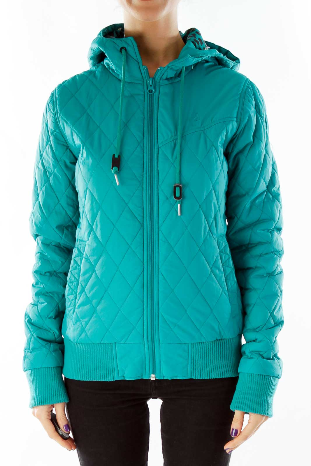 Green Puffy Hooded Jacket Front