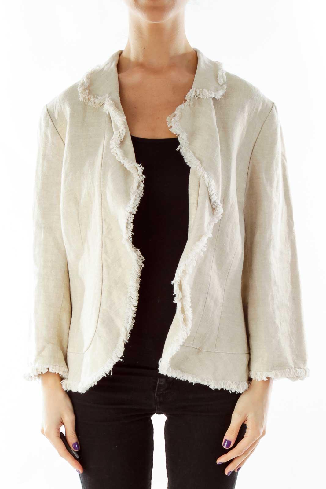 Beige Metallic Jacket Front