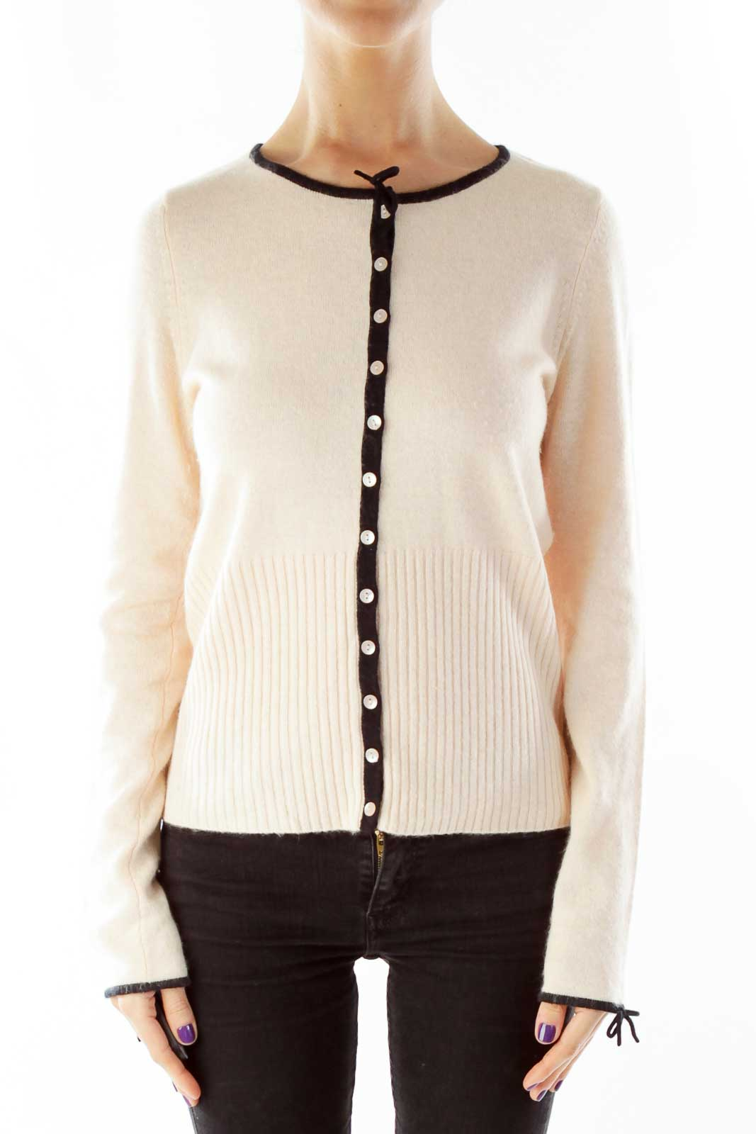 Pink Black Button Down Cardigan Front