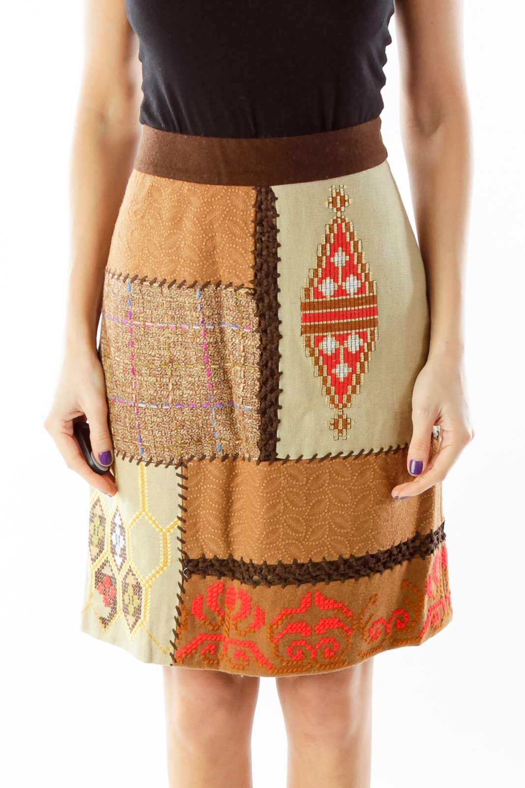 Brown Tribal Pencil Skirt Front