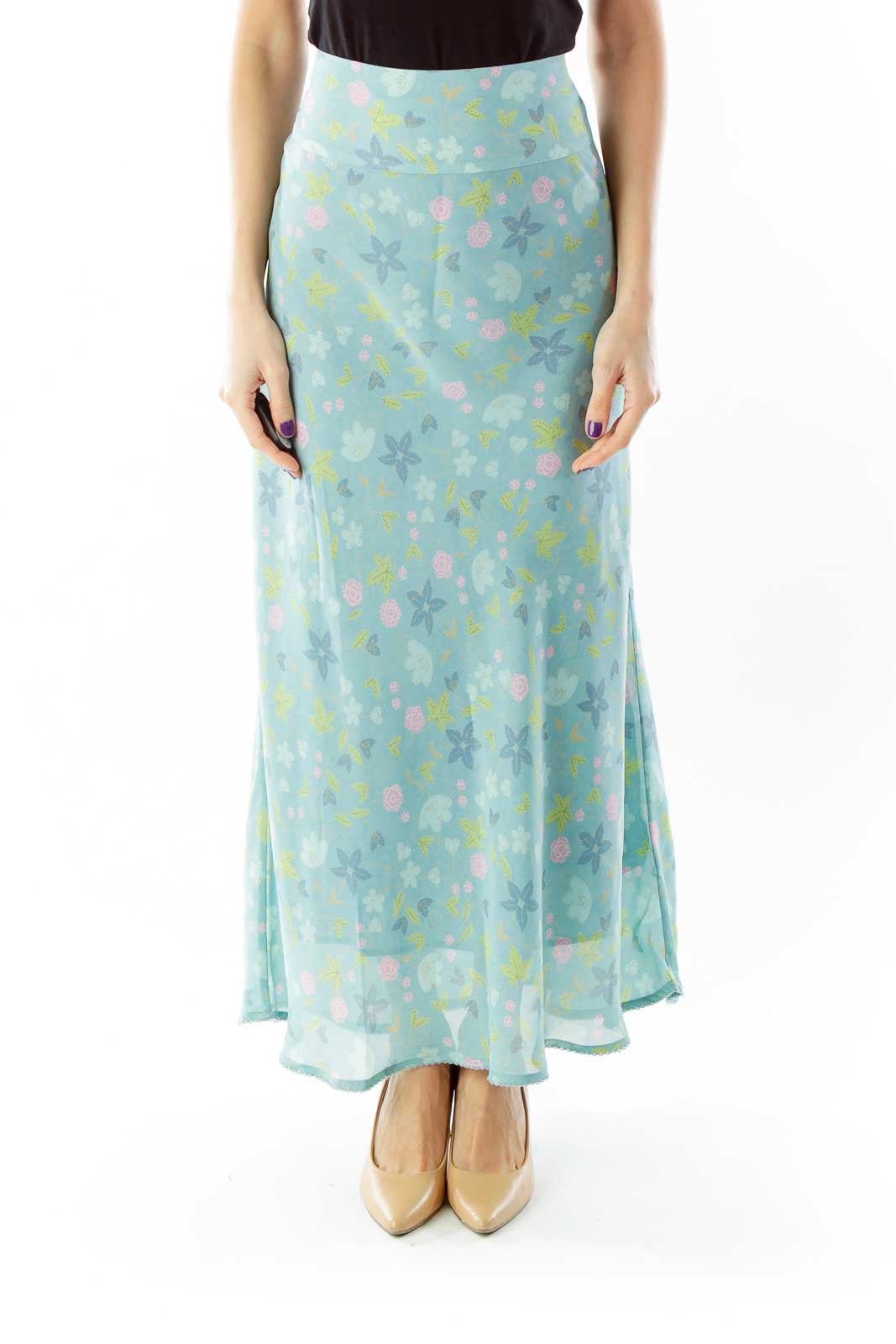 Green Floral Maxi Skirt Front
