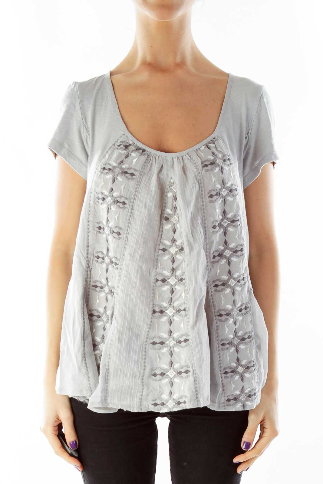 Gray Embroidered Blouse Front