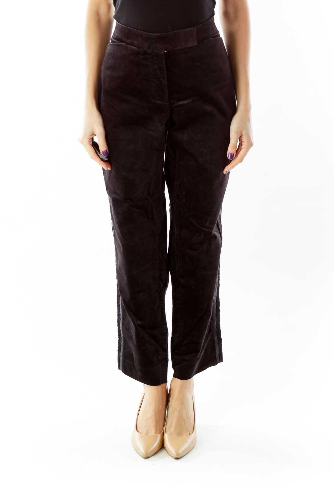 Black Velvet Tapered Pants Front