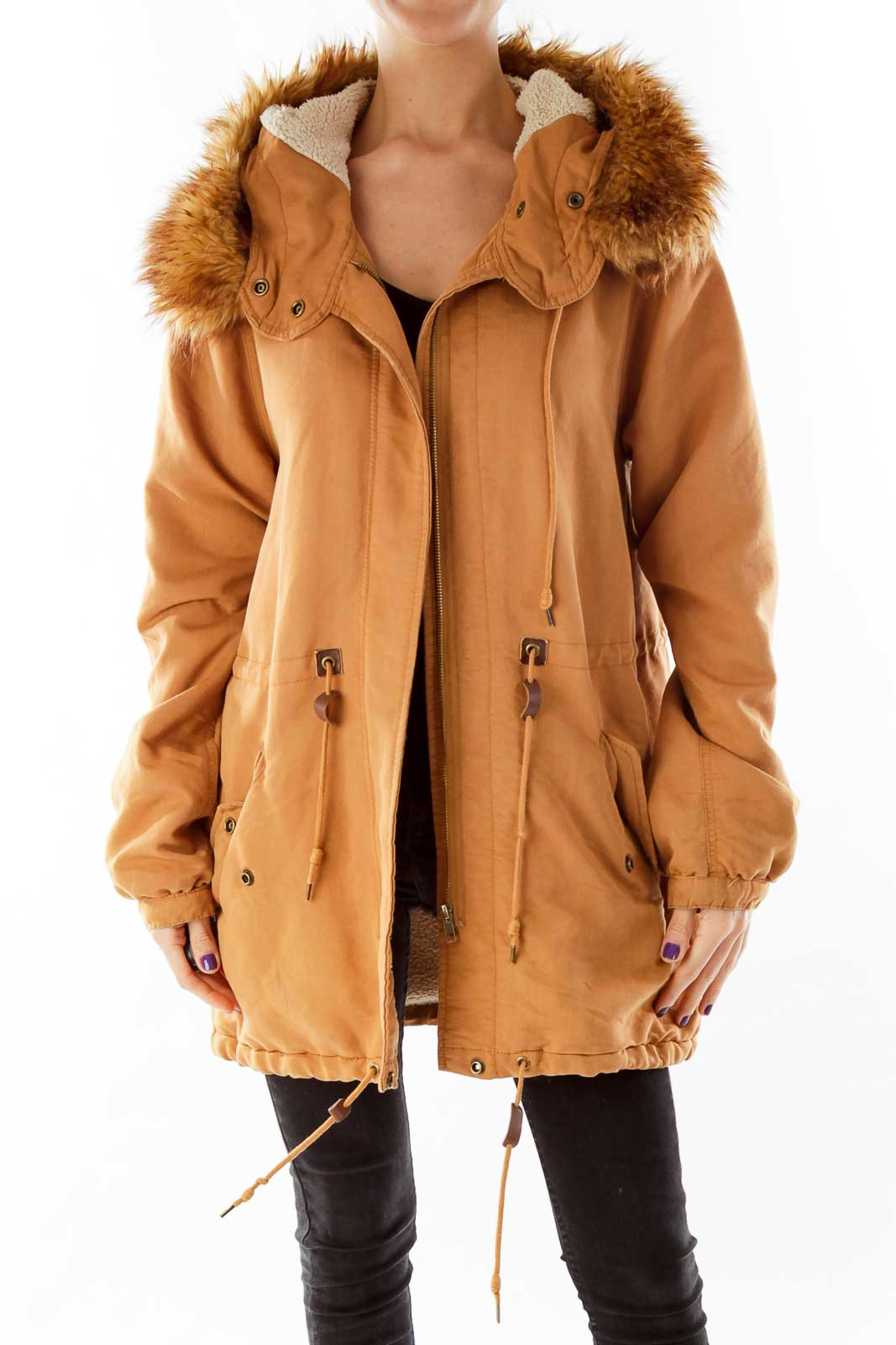 Brown Hooded Faux-Fur & Shearling Jacket Front