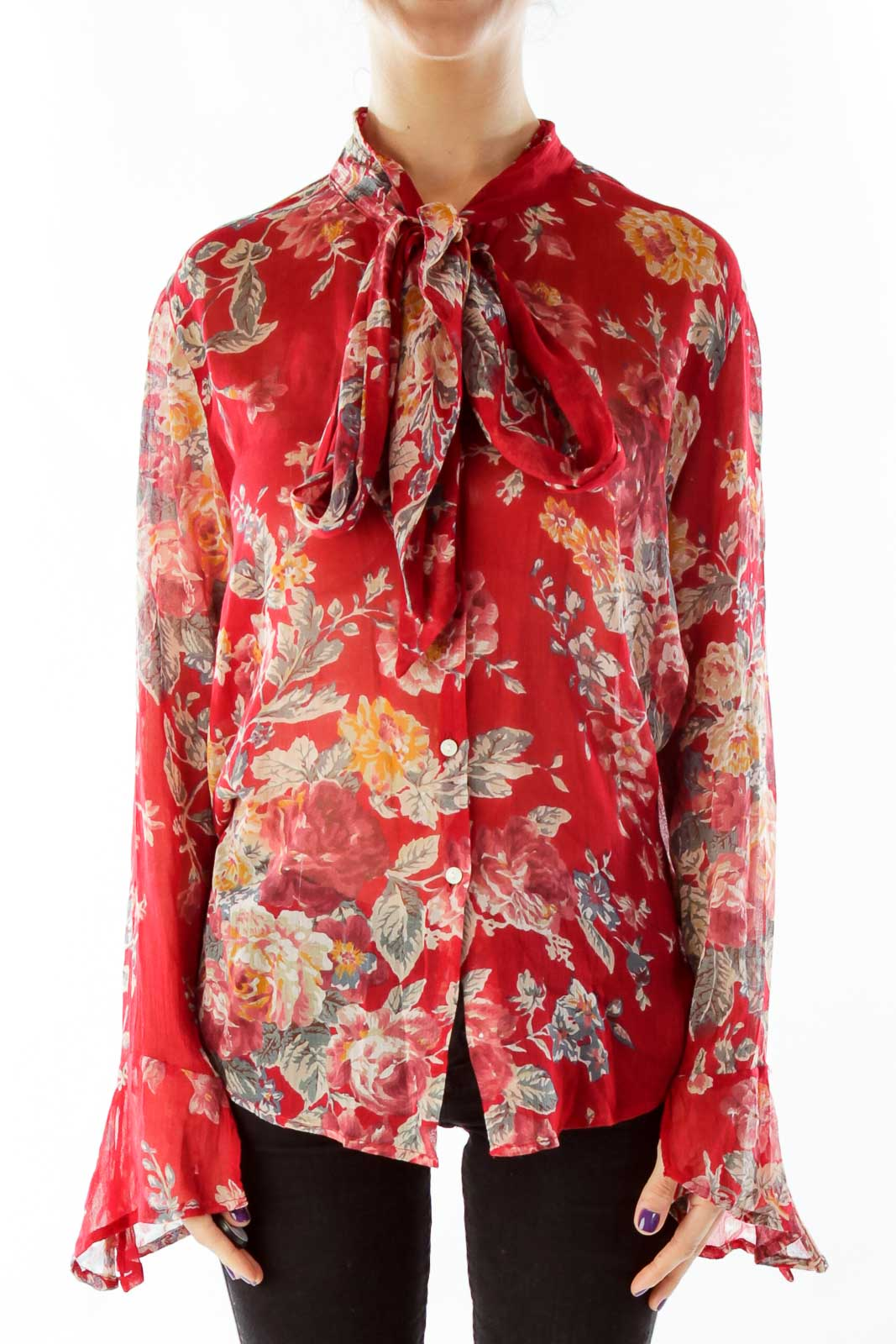 Red See-Through Floral Blouse Front