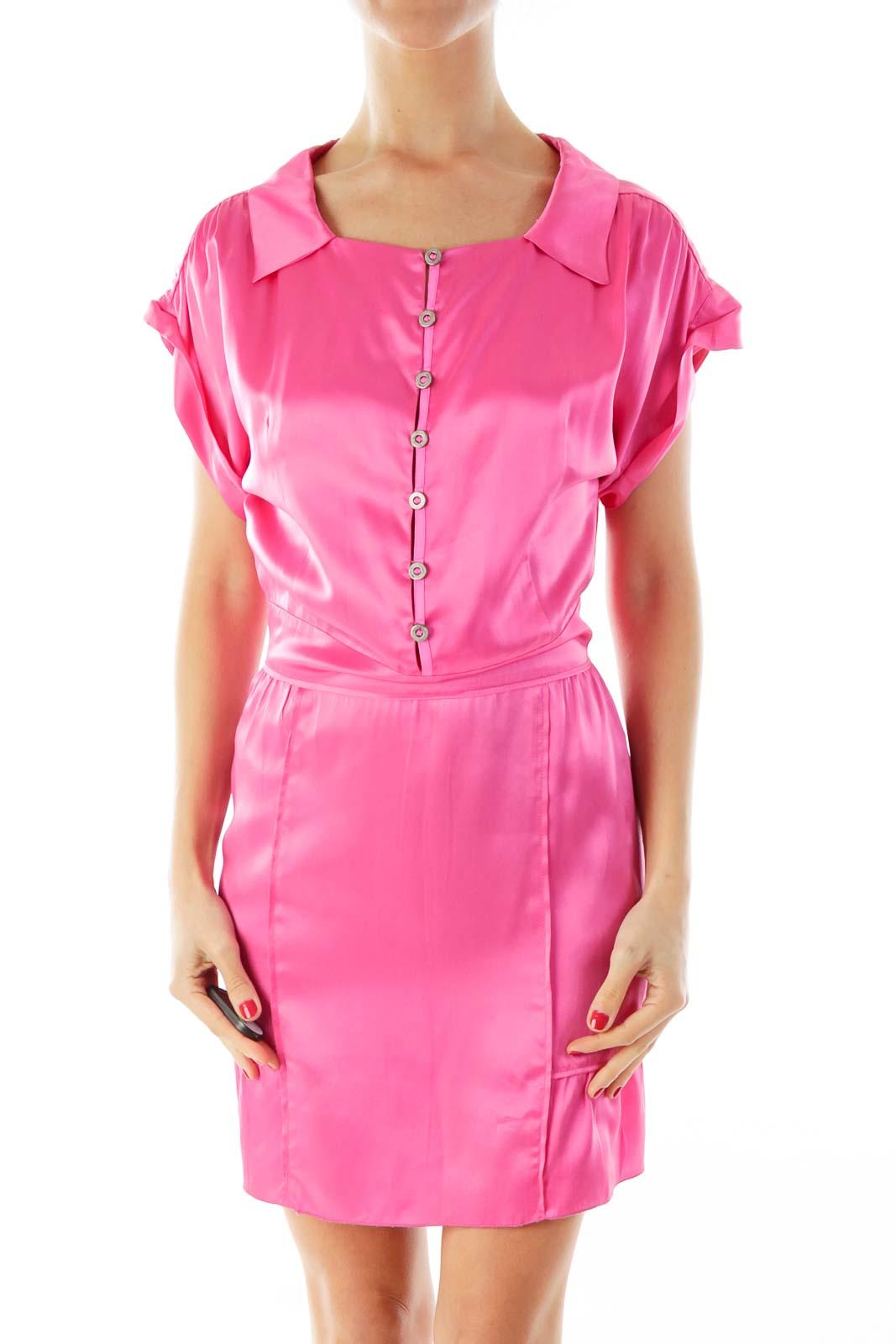 Pink Silk Dress Front