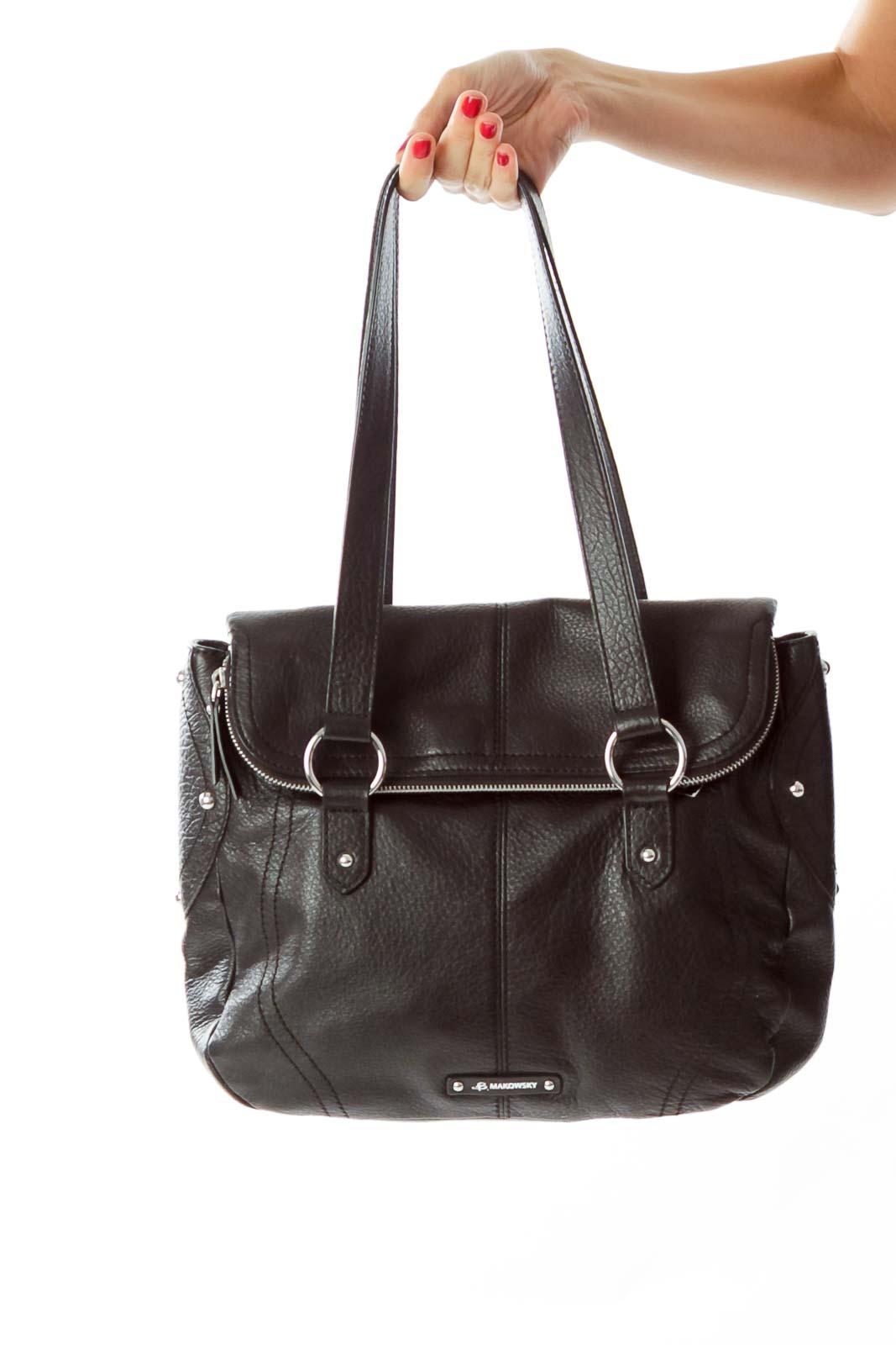 Black Double Strap Shoulder Bag Front