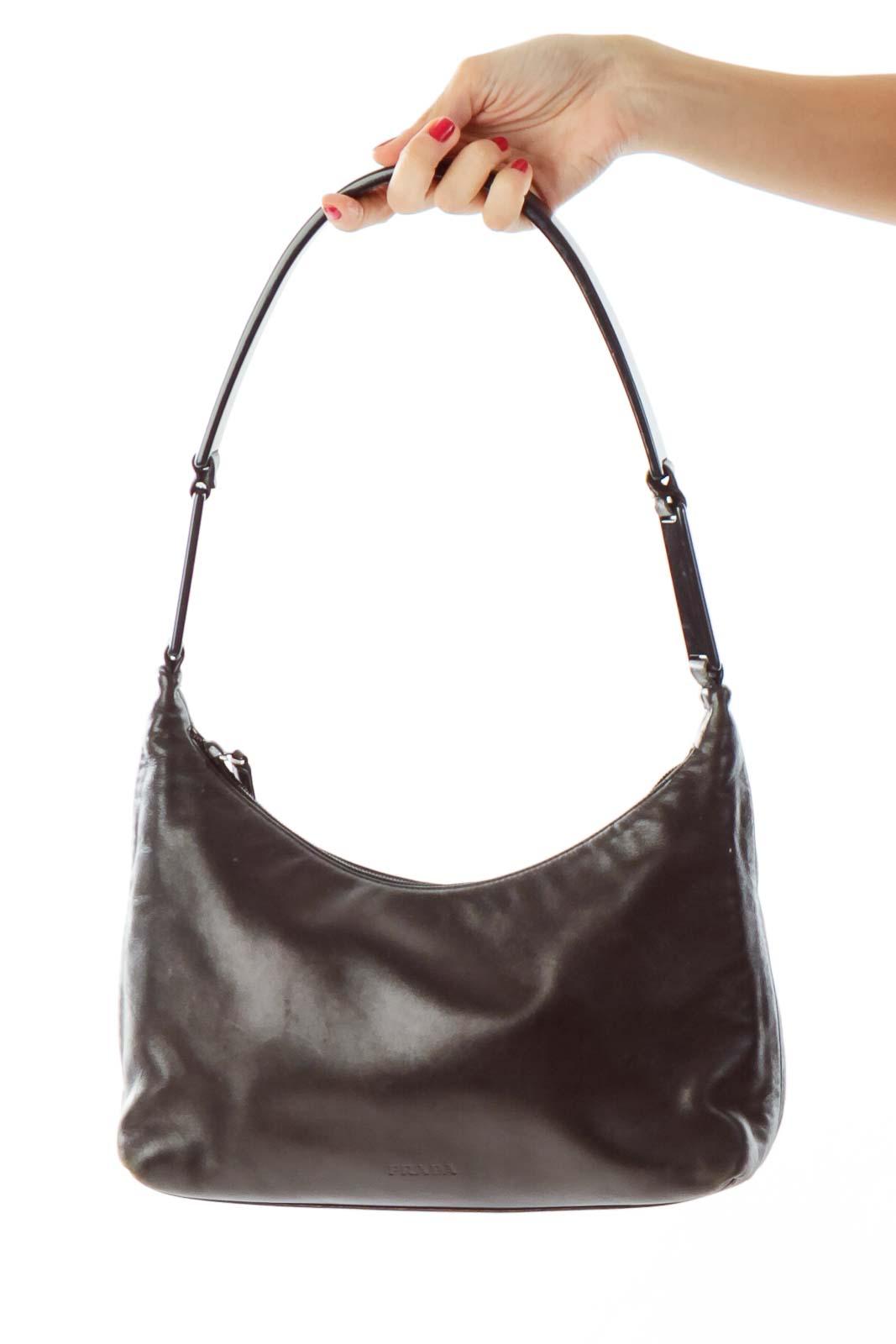 Black Plastic Handle Shoulder Bag Front