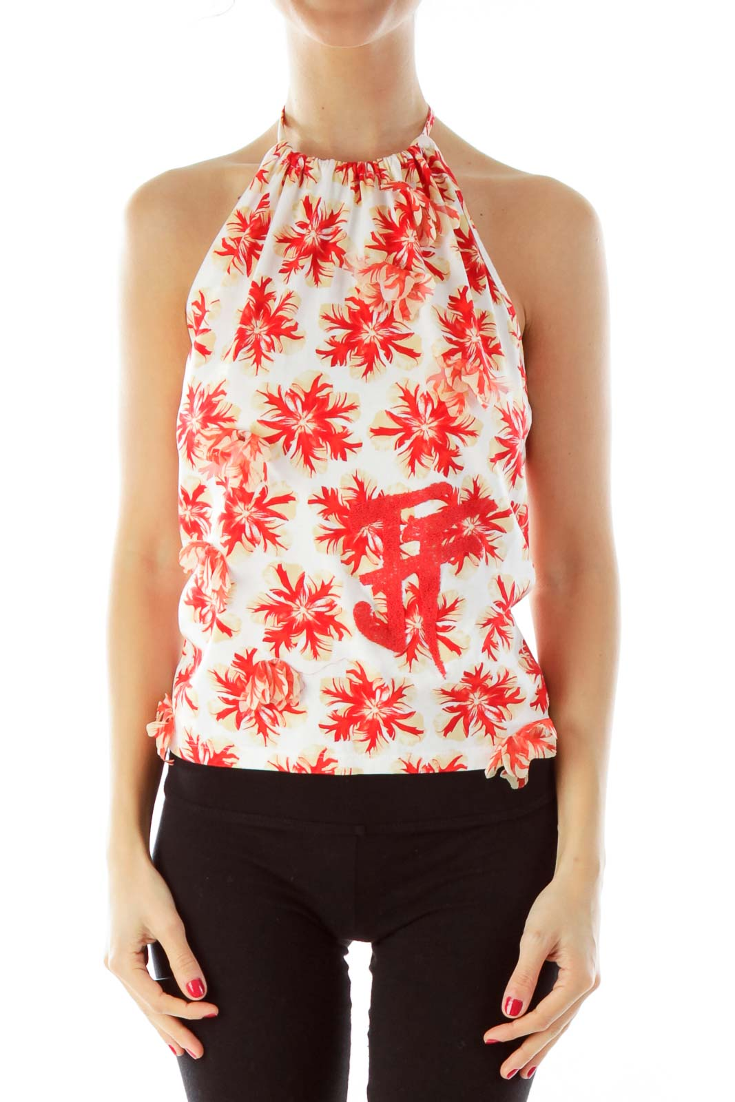 Red & Cream Beaded Floral Halter Top Front