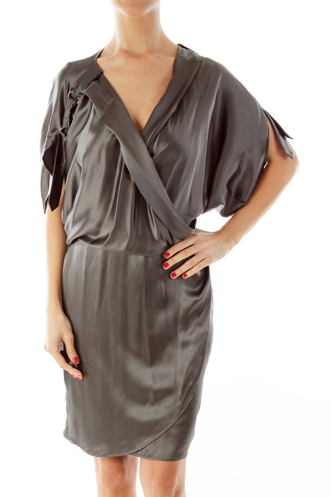 Gray Silk Wrap Dress Front