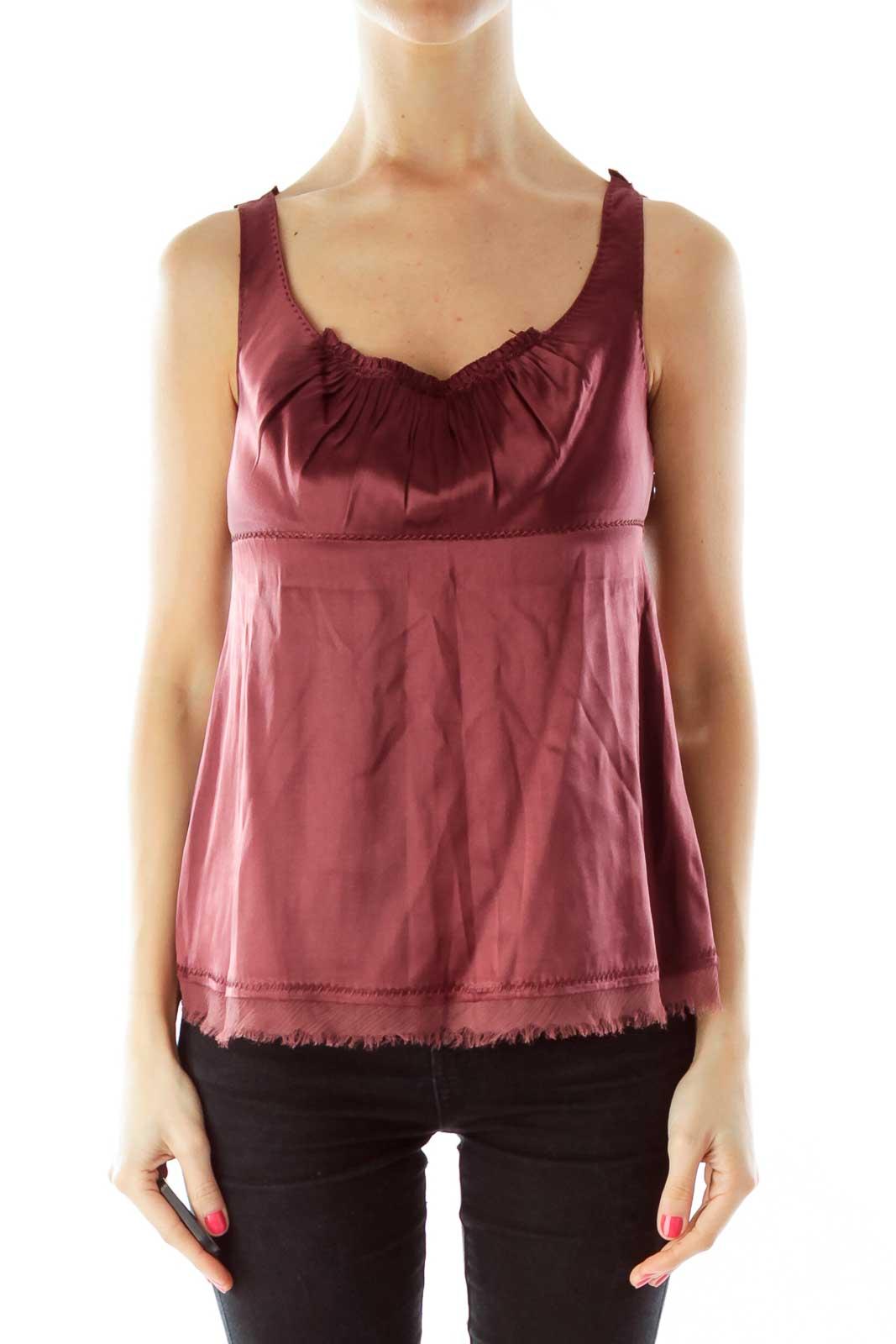 Purple Silk Sleeveless Blouse Front