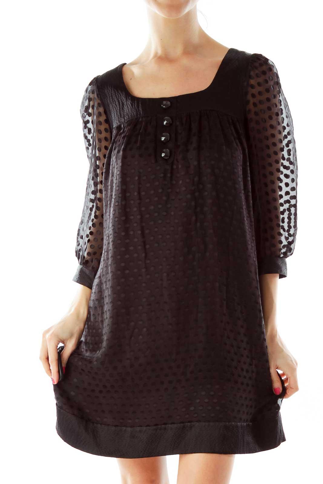 Black Polka-Dot Doll Dress Front