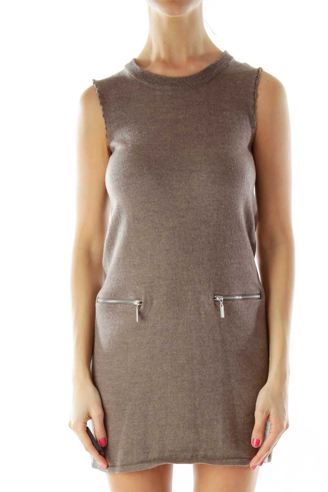Brown Wool Knit Dress Front