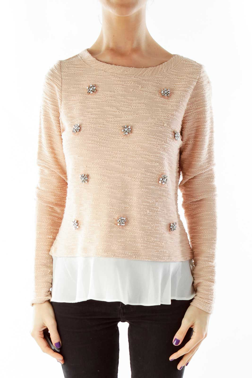 Pink Beaded Blouse Front