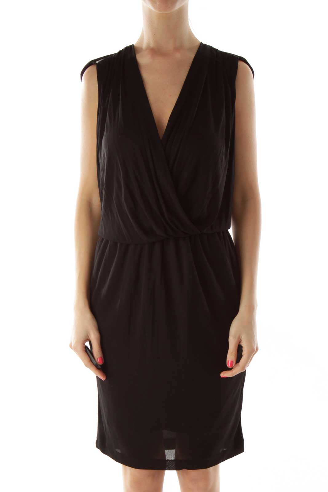 Black Zippered Cocktail Dress Front