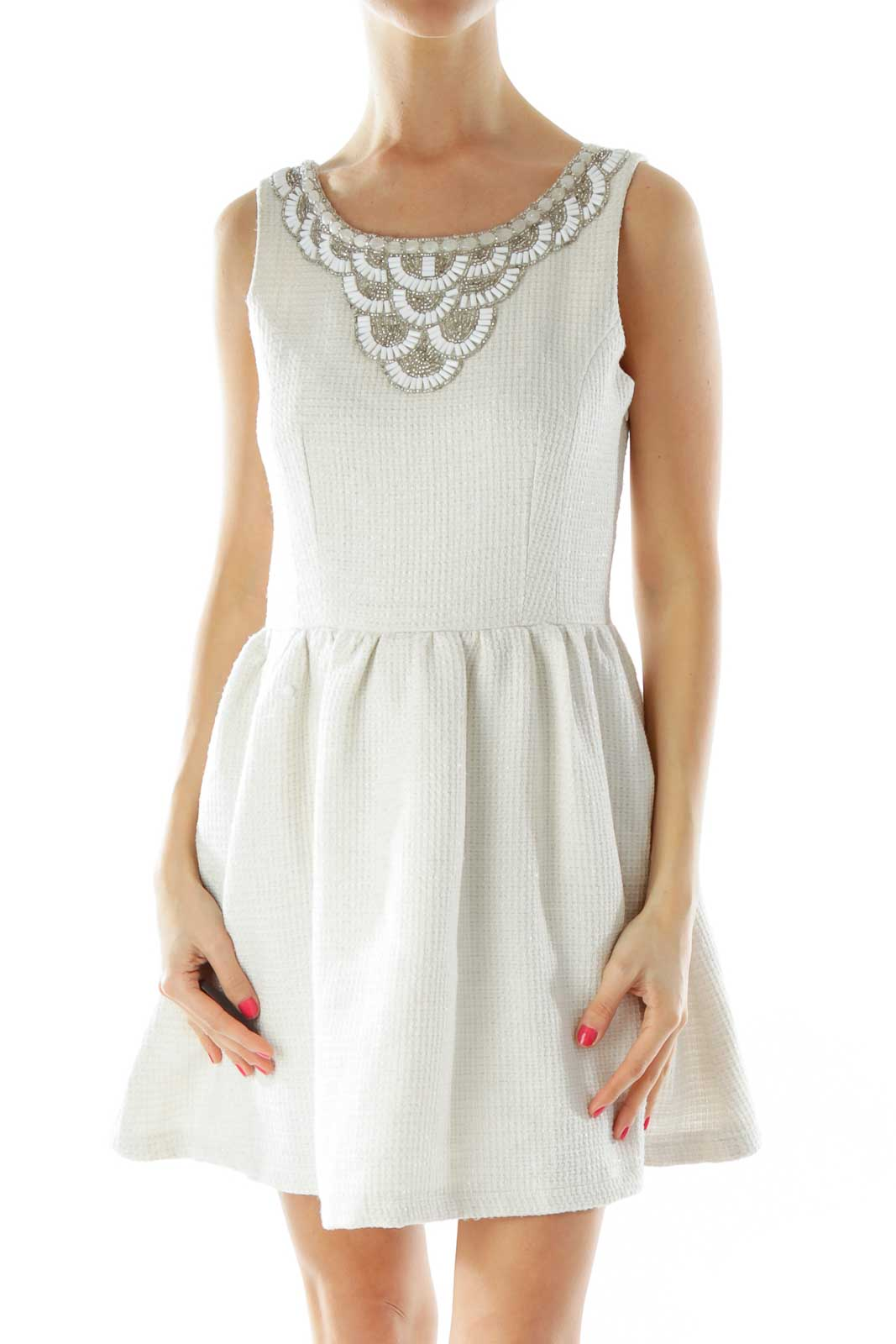 Cream Tweed Beaded Cocktail Dress Front