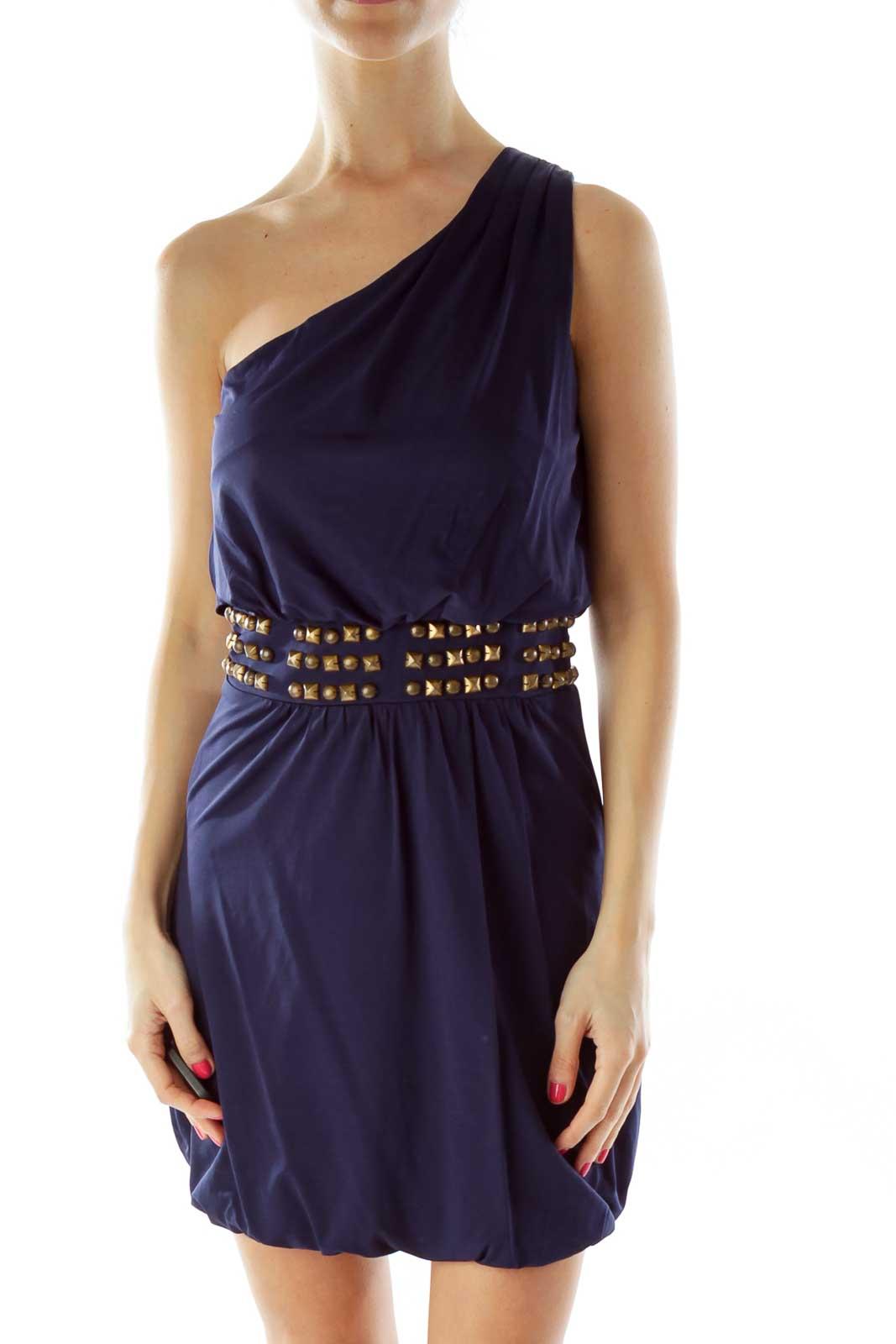 Blue Studded Cocktail Dress Front