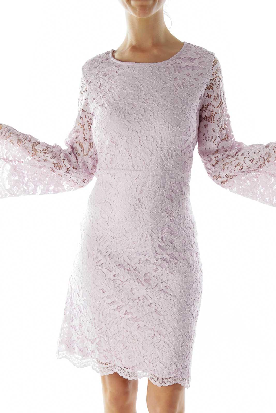 Purple Lace Cocktail Dress Front