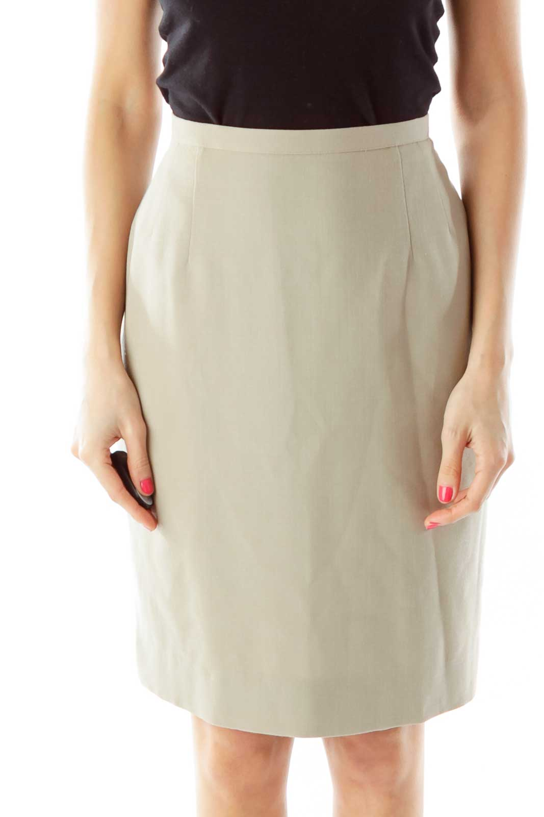 Beige Wool Pencil Skirt Front
