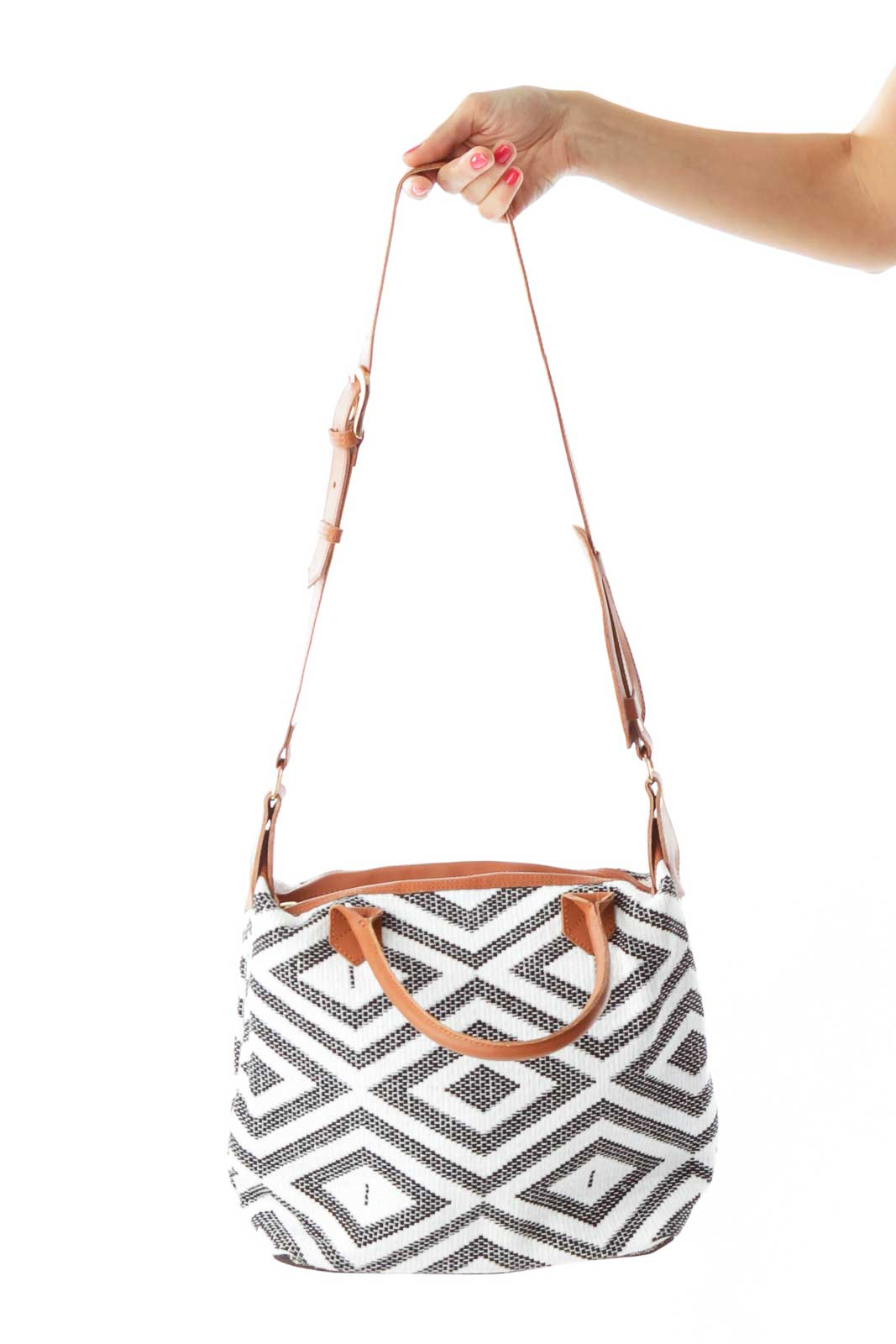 Black White Geometric Weave Tote Front