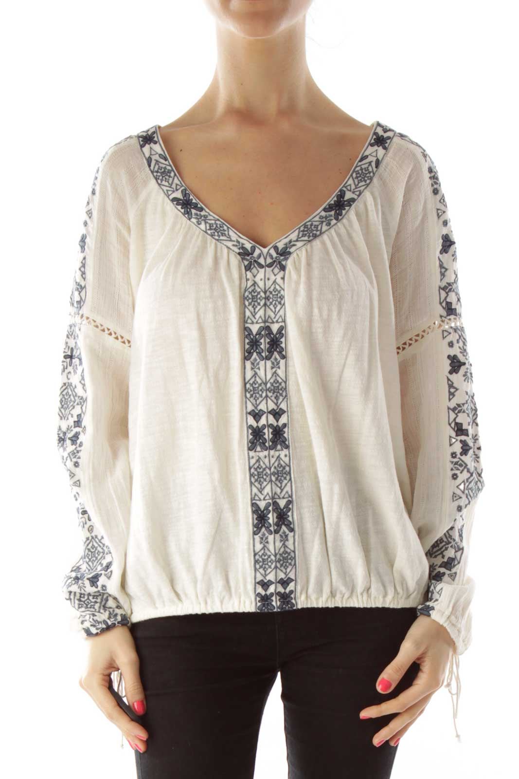 Cream Blue Embroidery V-neck Top Front