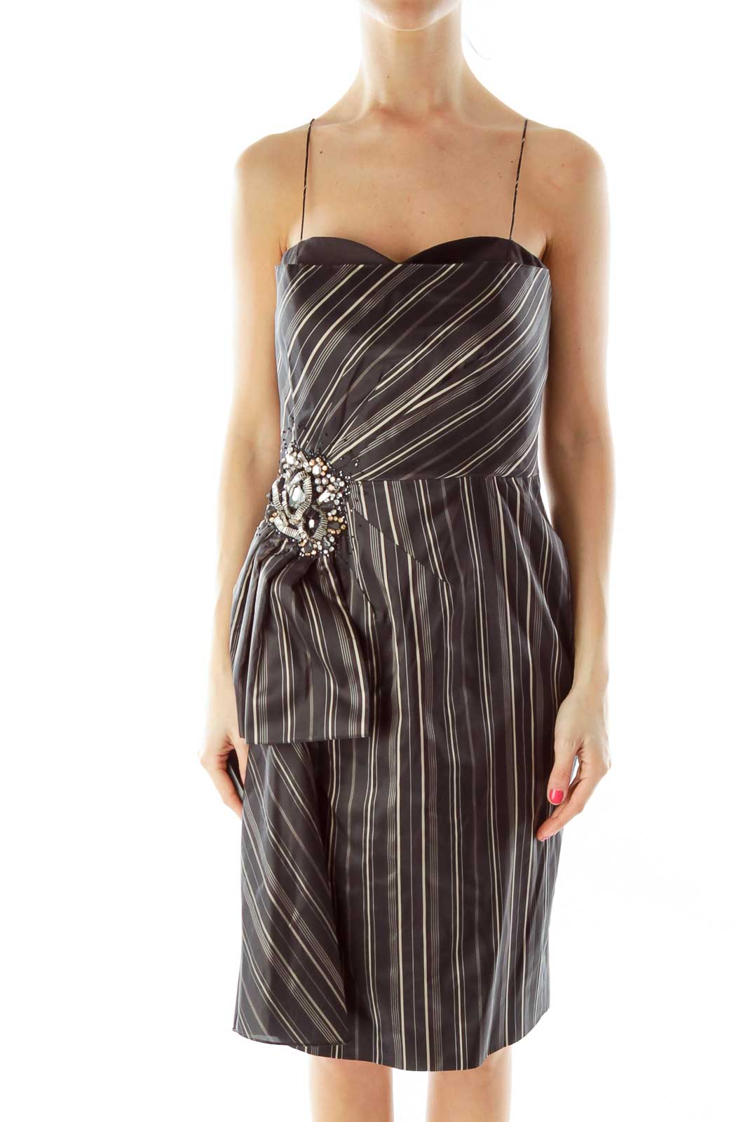Black Pinstripe Beaded Cocktail Dress Front