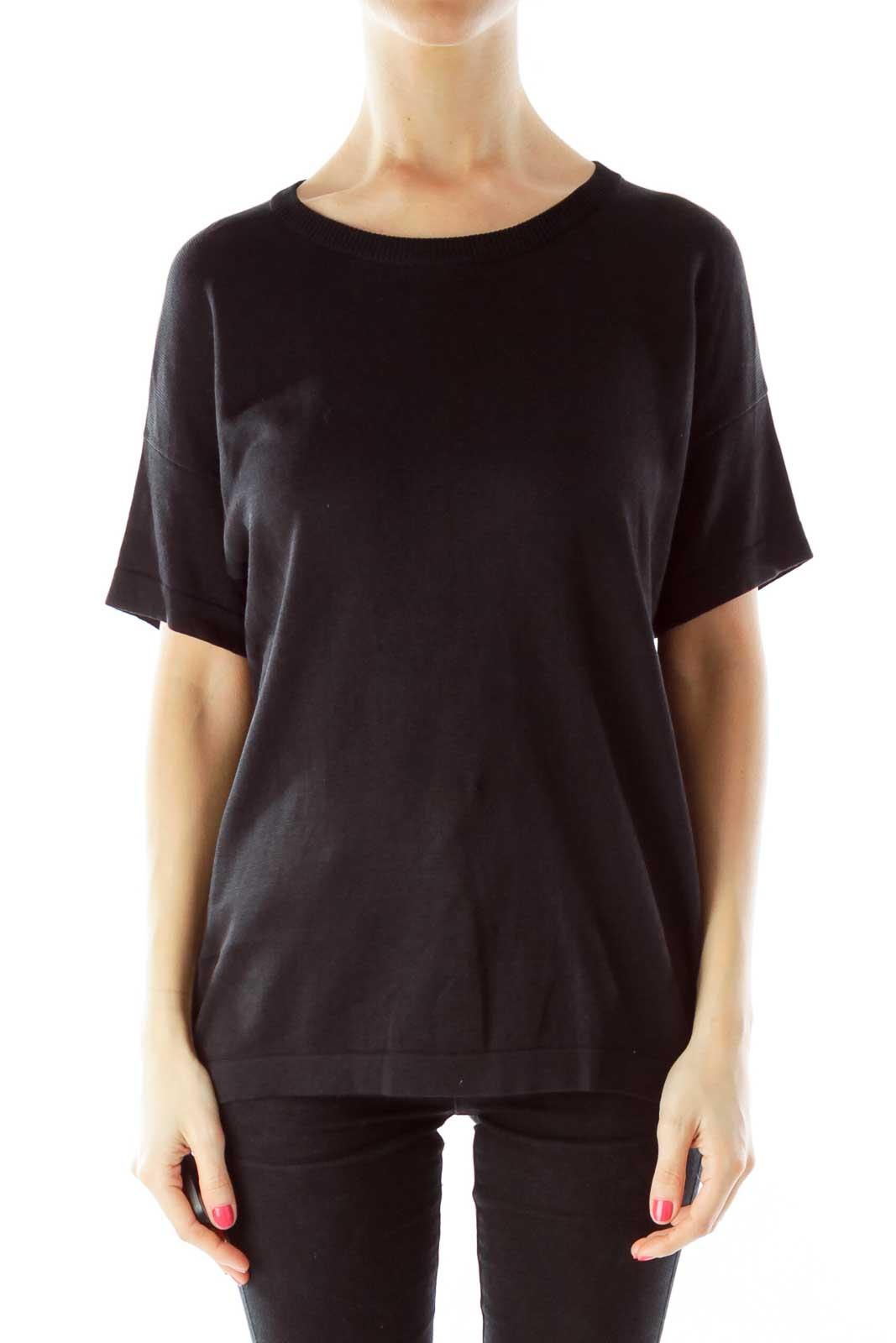 Black Round Neck Short Sleeve Knit Front