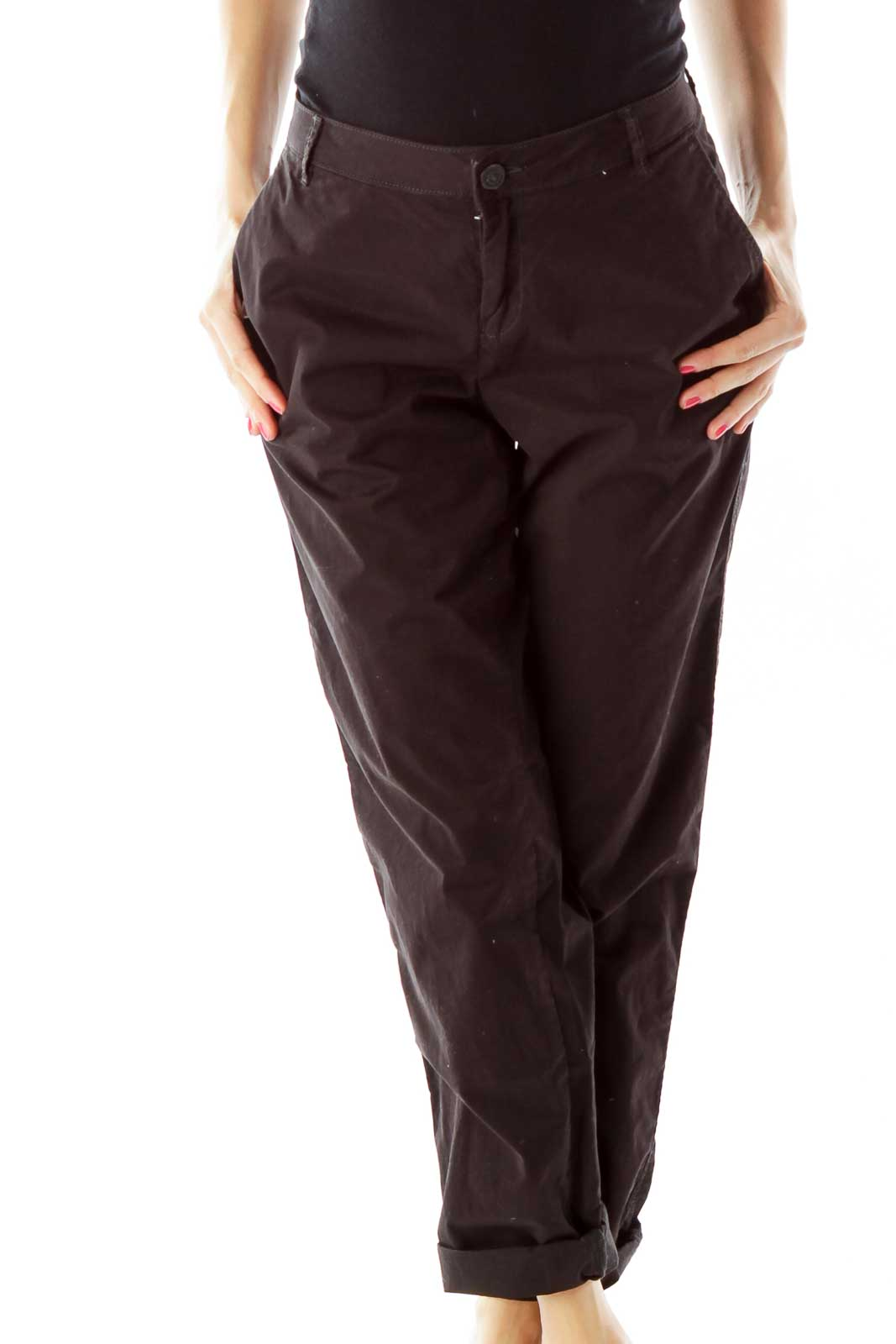Black Tapered Cotton Pants Front