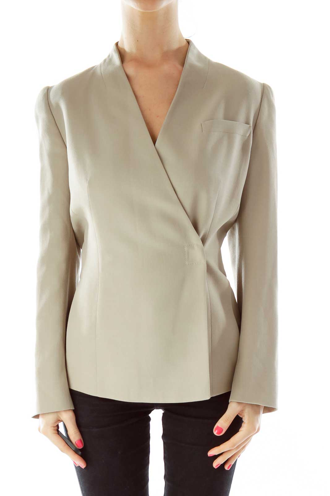 Beige V-Neck Fitted Jacket Front