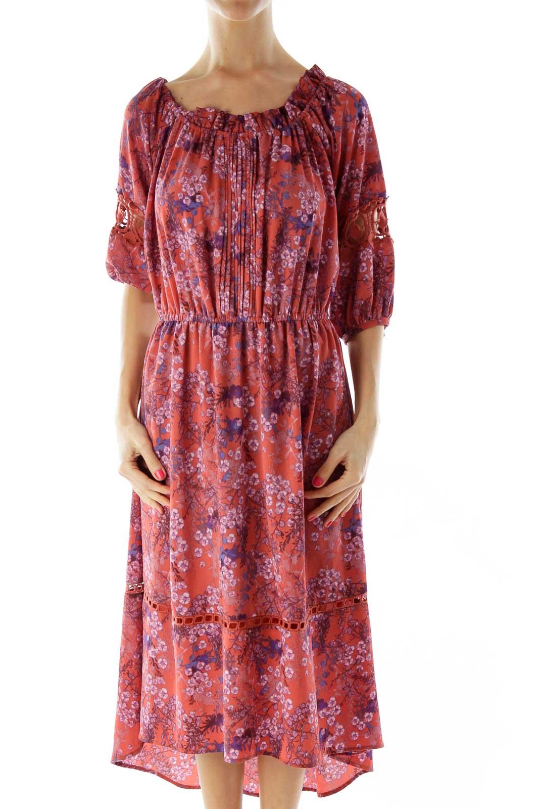 Orange Blue Floral Off-Shoulder Dress Front
