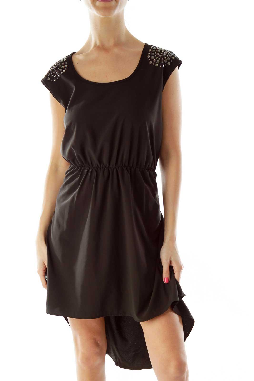 Black Studded Shoulder Cocktail Dress Front