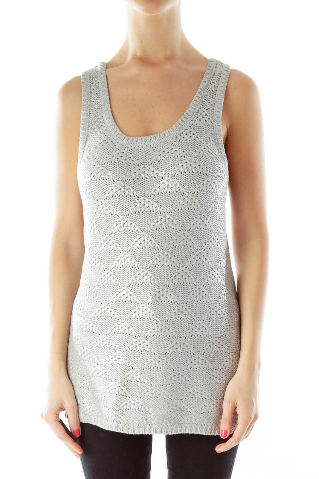 Silver Metallic Knit Front