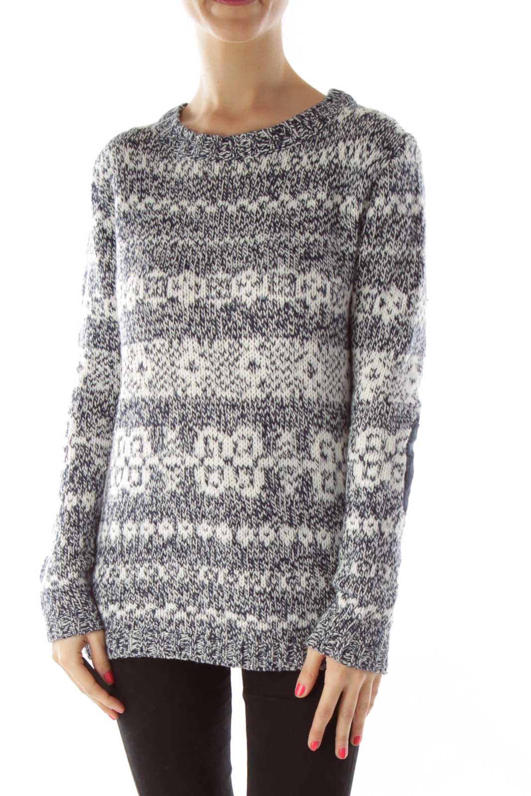 Blue White Sweater Front