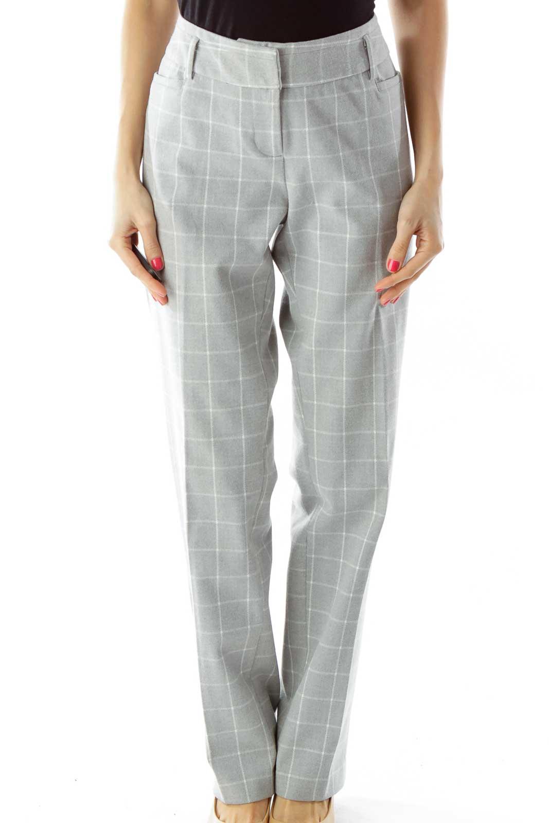 Gray White Checkered Slacks Front
