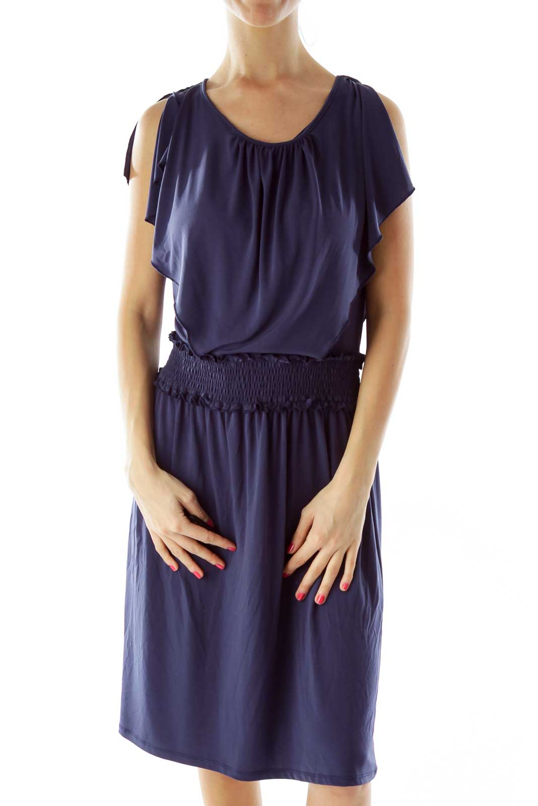 Navy Scrunched Ruffled Day Dress Front