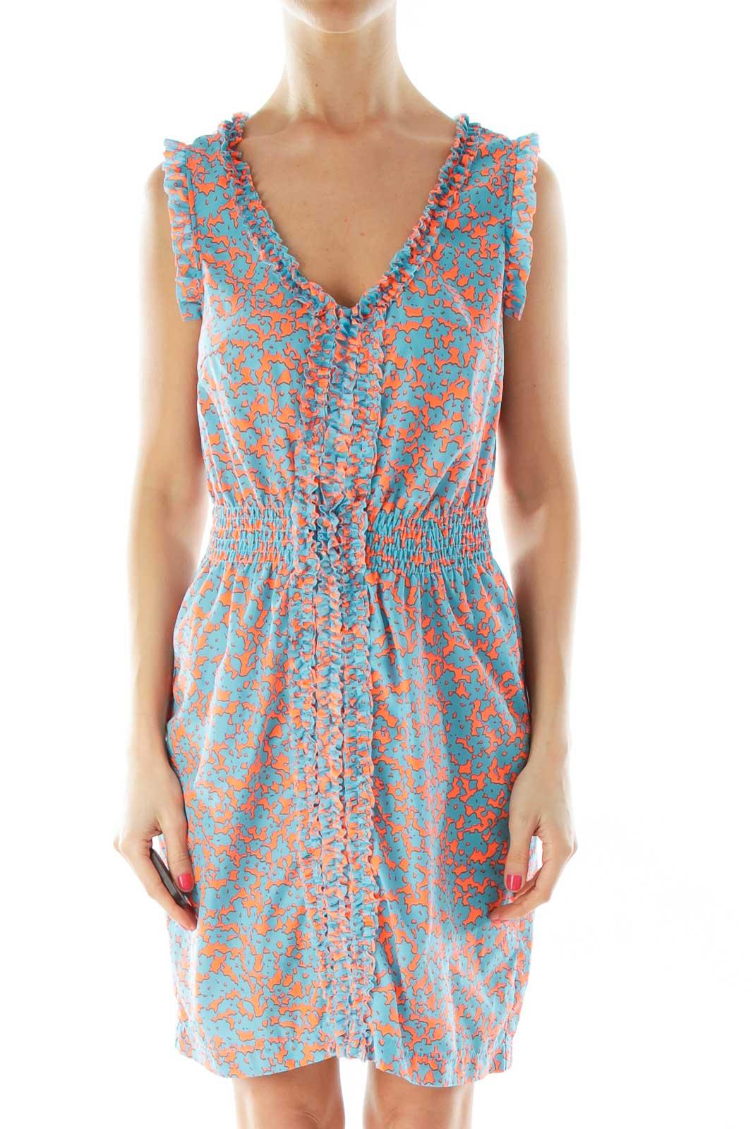 Blue Orange Scrunched V-Neck Day Dress Front