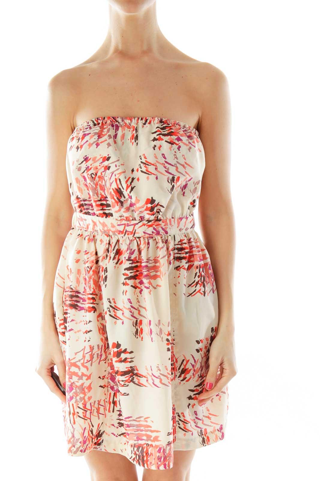 Beige Multicolor Bow Open Back Dress Front