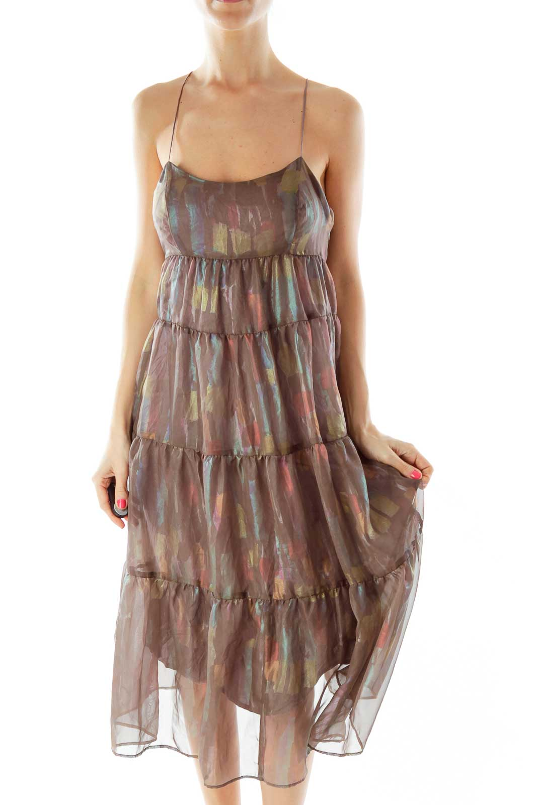 Brown Multicolor Sheer Layered Dress Front