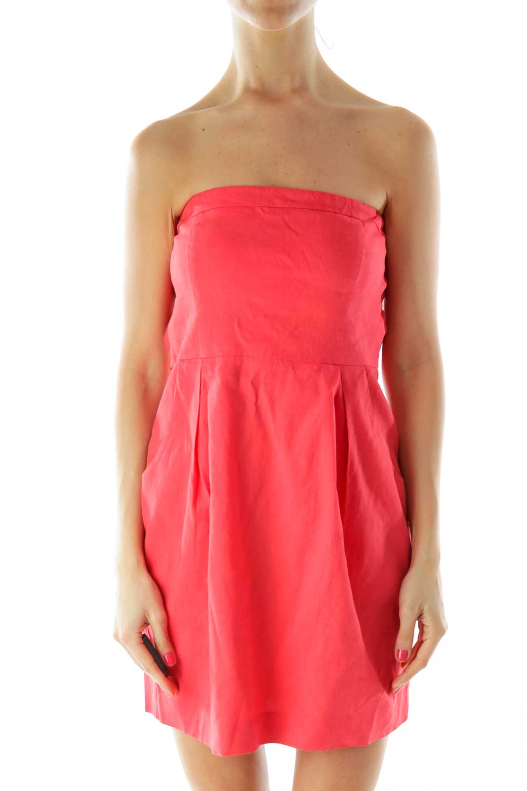 Red Strapless Linen Cocktail Dress Front