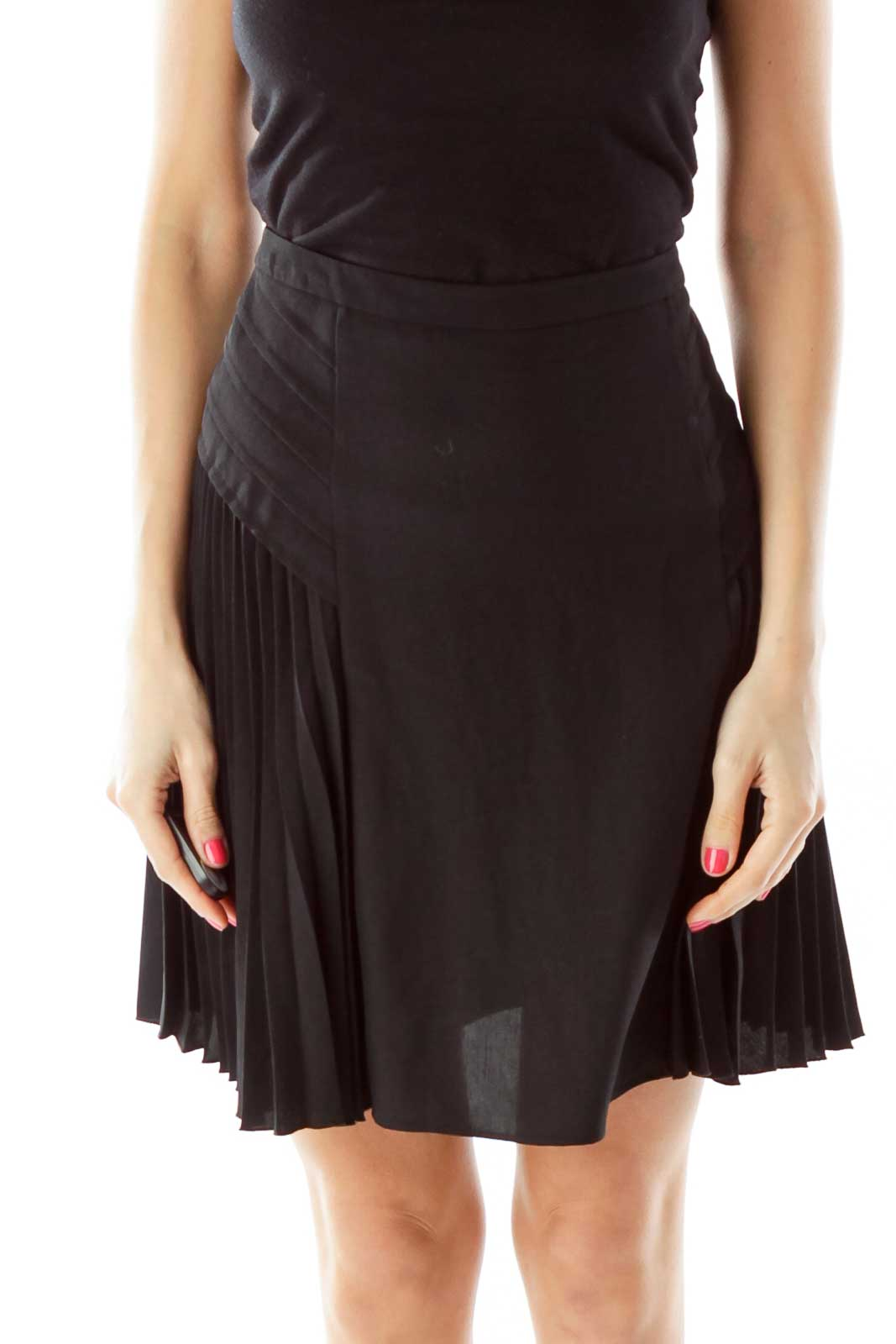Black Pleated A-Line Skirt Front