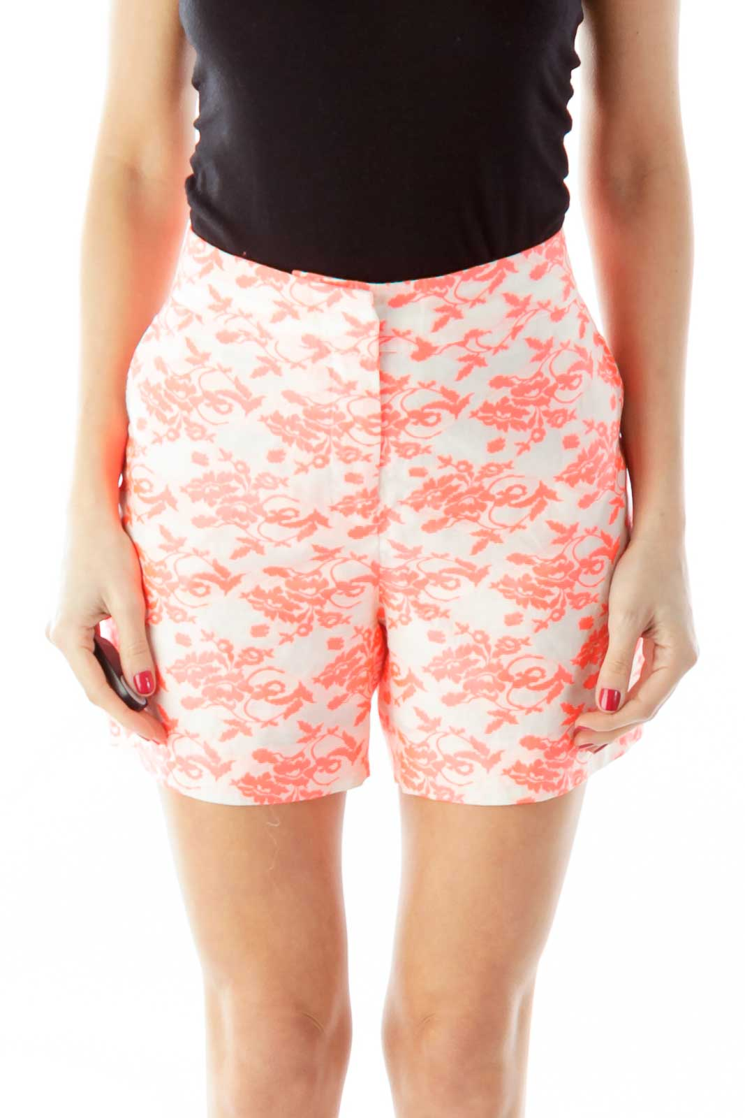 Pink White Flower Print High-Waisted Shorts Front