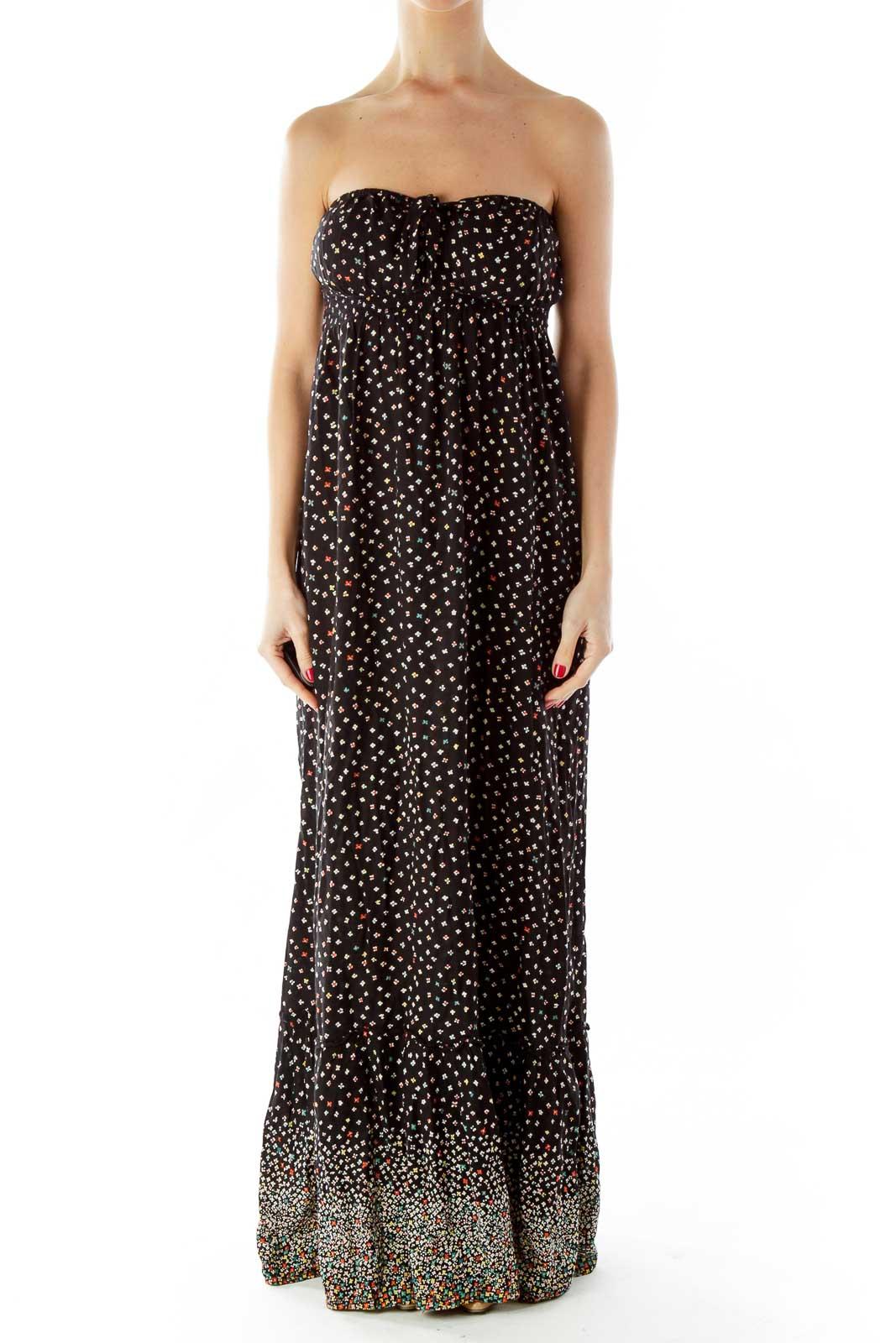 Black Multicolor Flower Maxi Dress Front