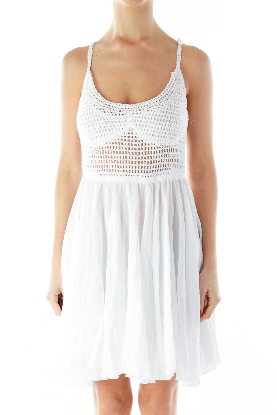 White Crocheted Lace-Up Day Dress Front