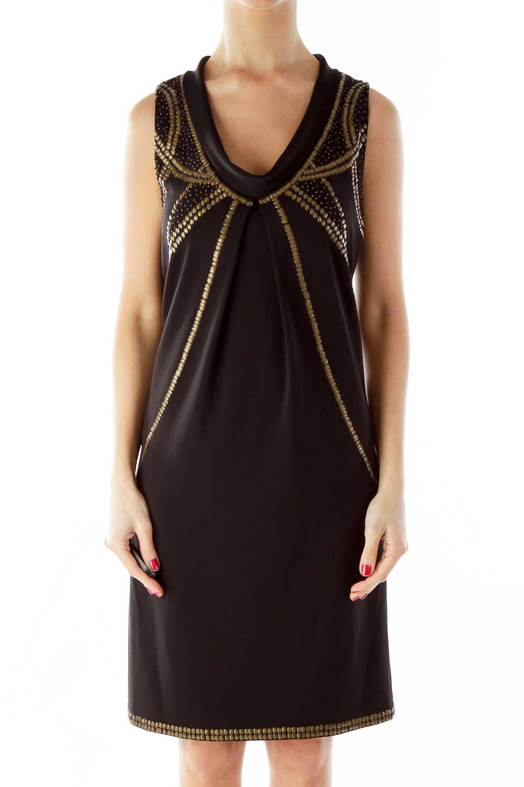 Black Beaded Cocktail Dress Front