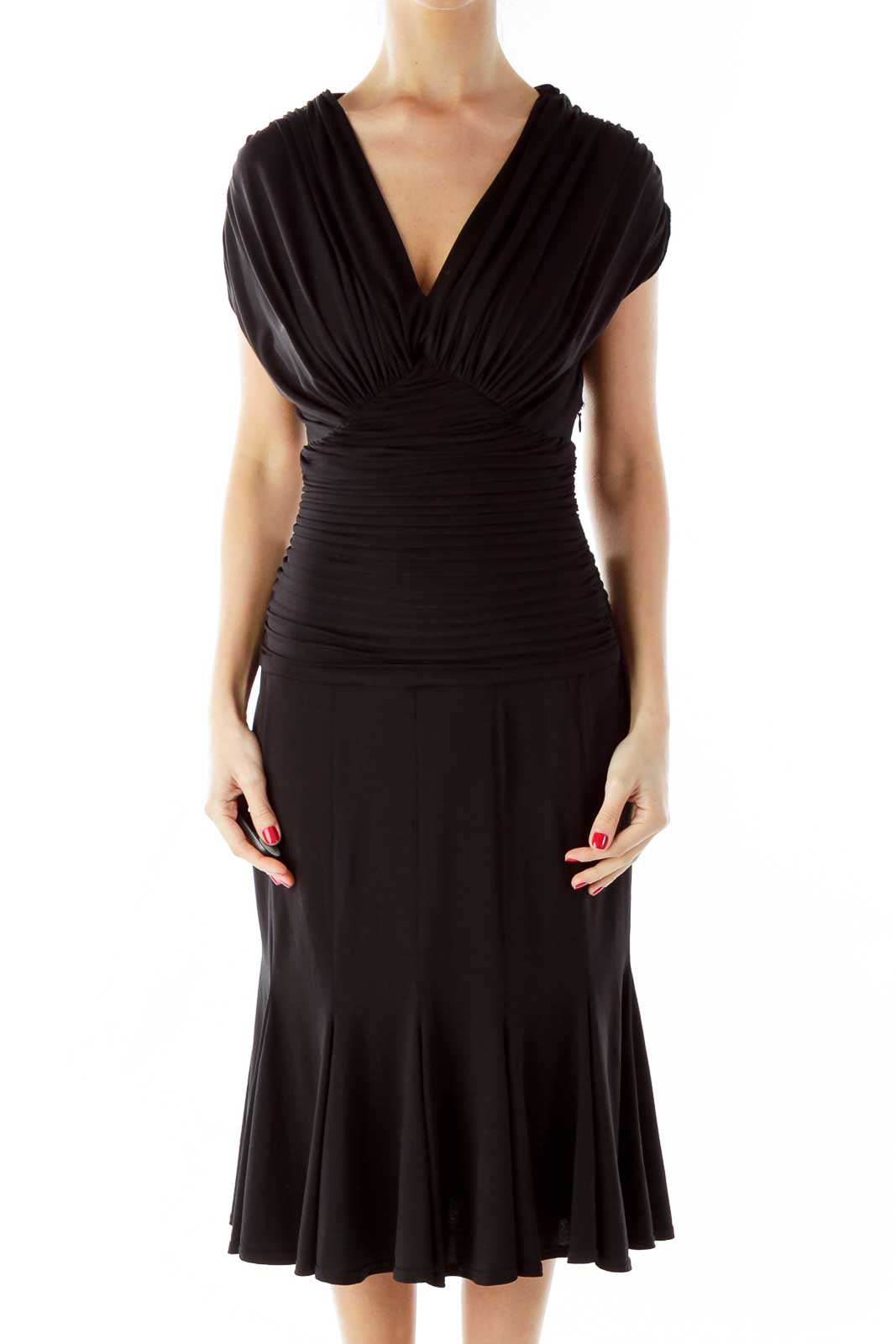 Black Scrunched Cocktail Dress Front