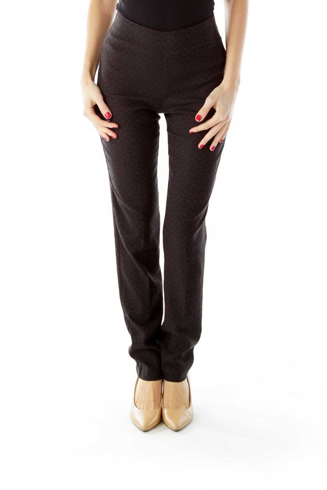 Black Textured Leggings Front
