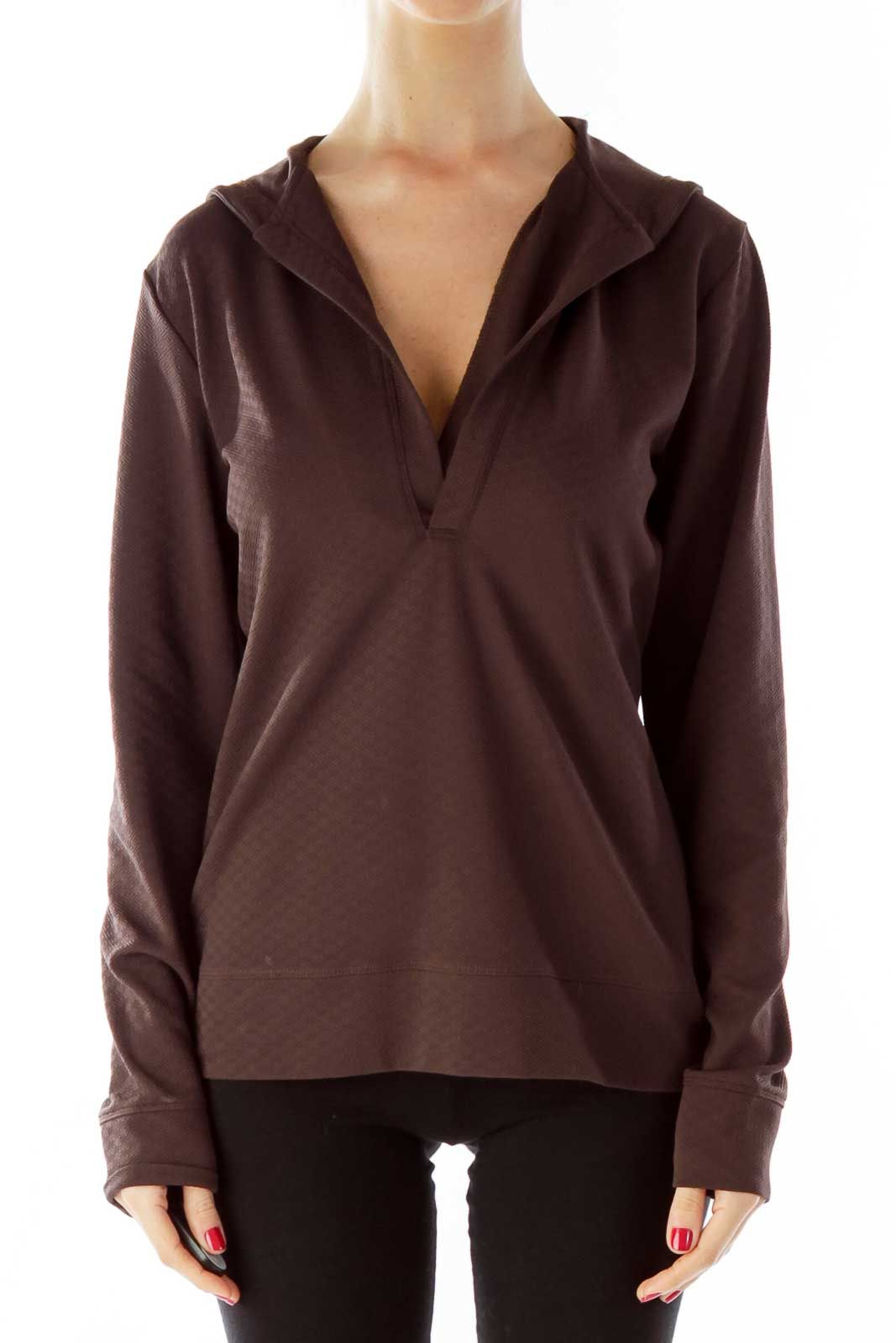 Brown Hooded Sports Top Front