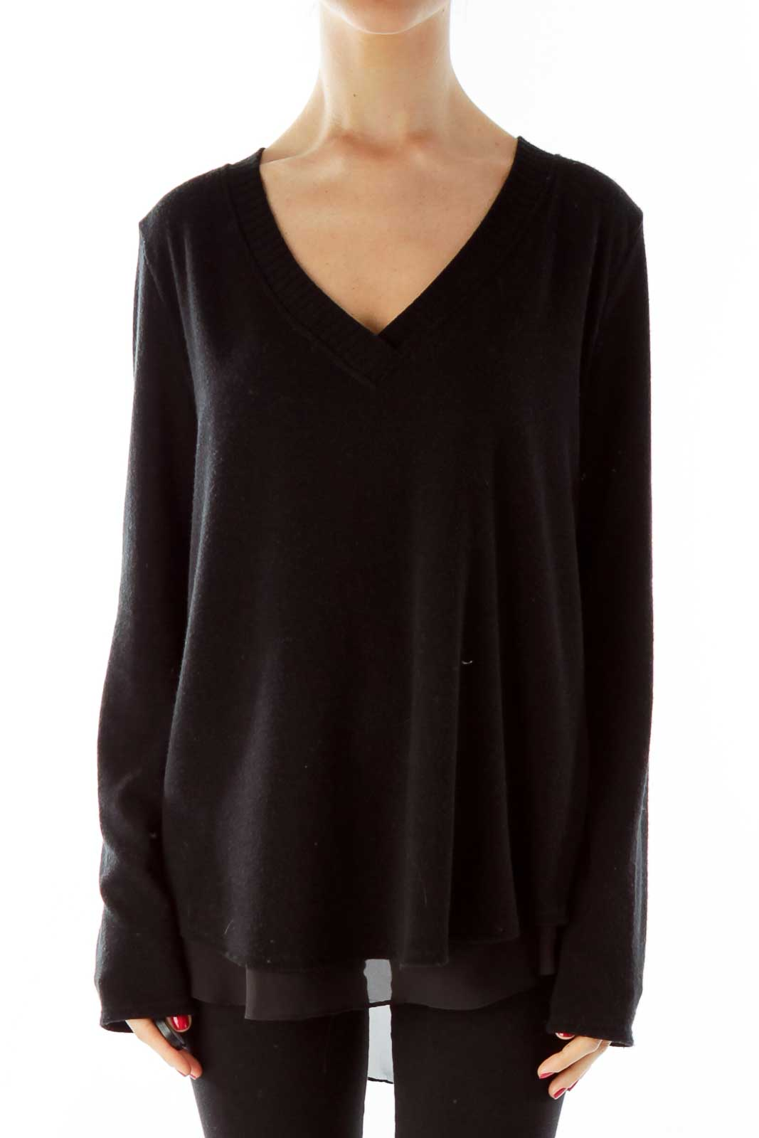 Black Knit with Sheer Lining Front
