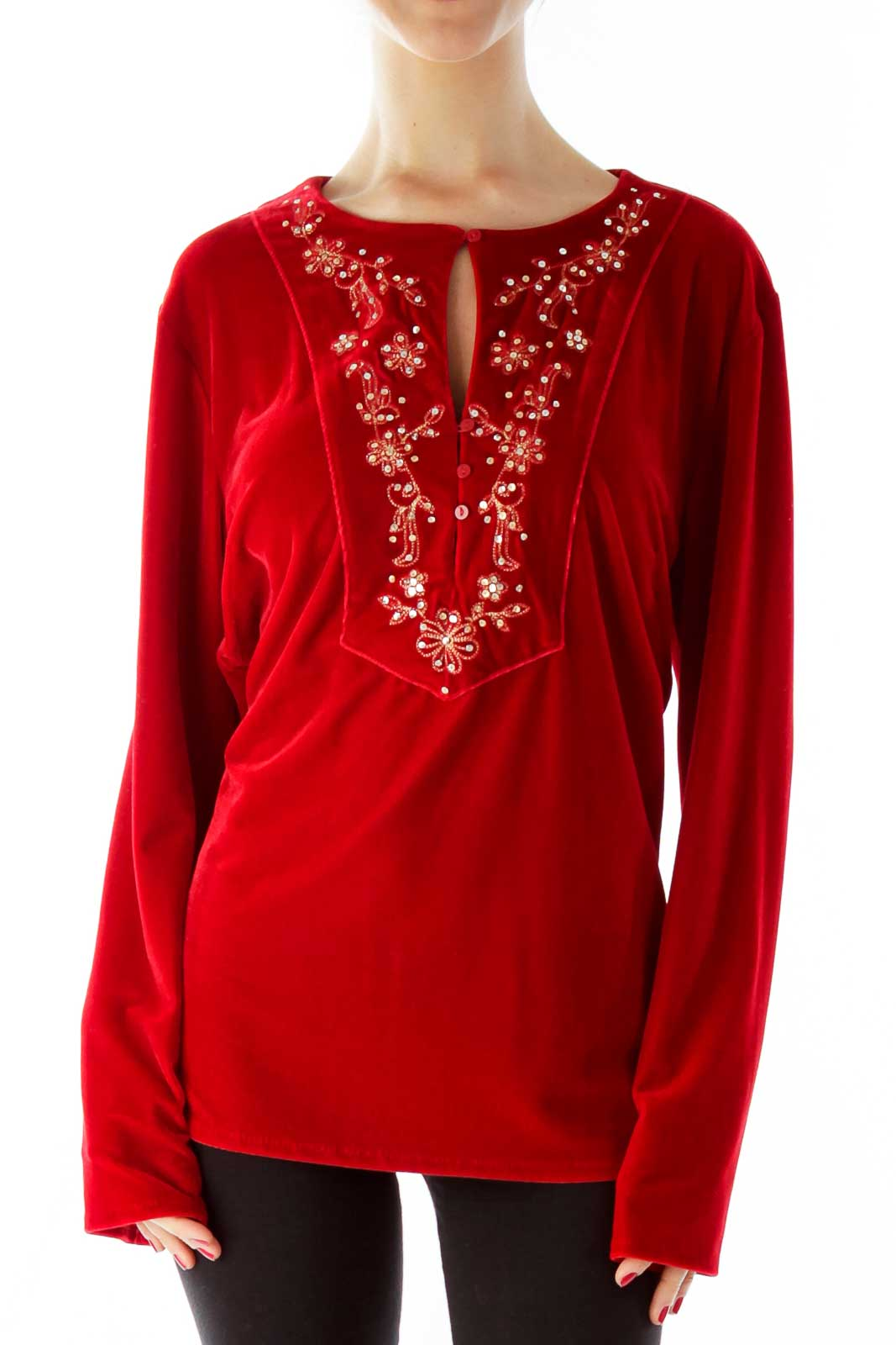 Red Velvet Sequined Buttoned Top Front