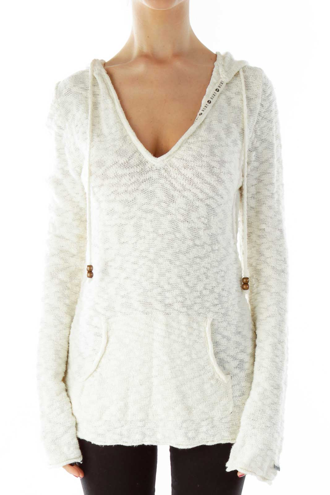 Cream Hooded Drawstring Sweater Front